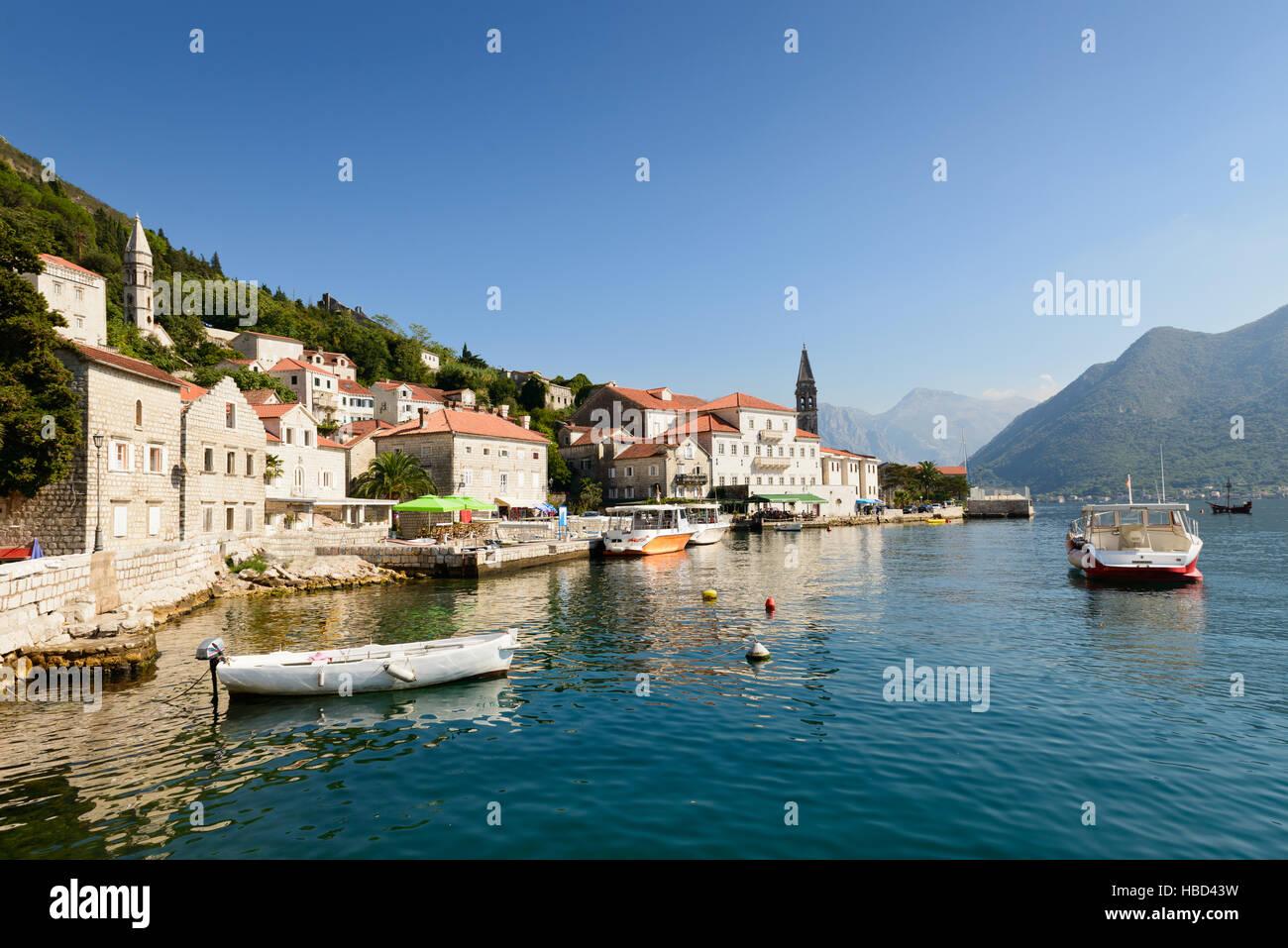 Perast town, Kotor bay, Montenegro, Europe Stock Photo