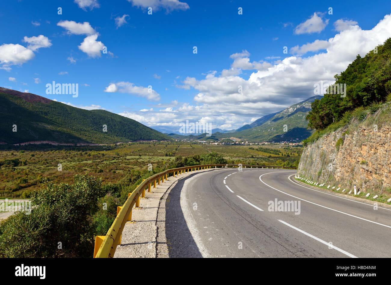 The Adriatic highway near Jaz Beach, Budva, Montenegro, Europe - Stock Image
