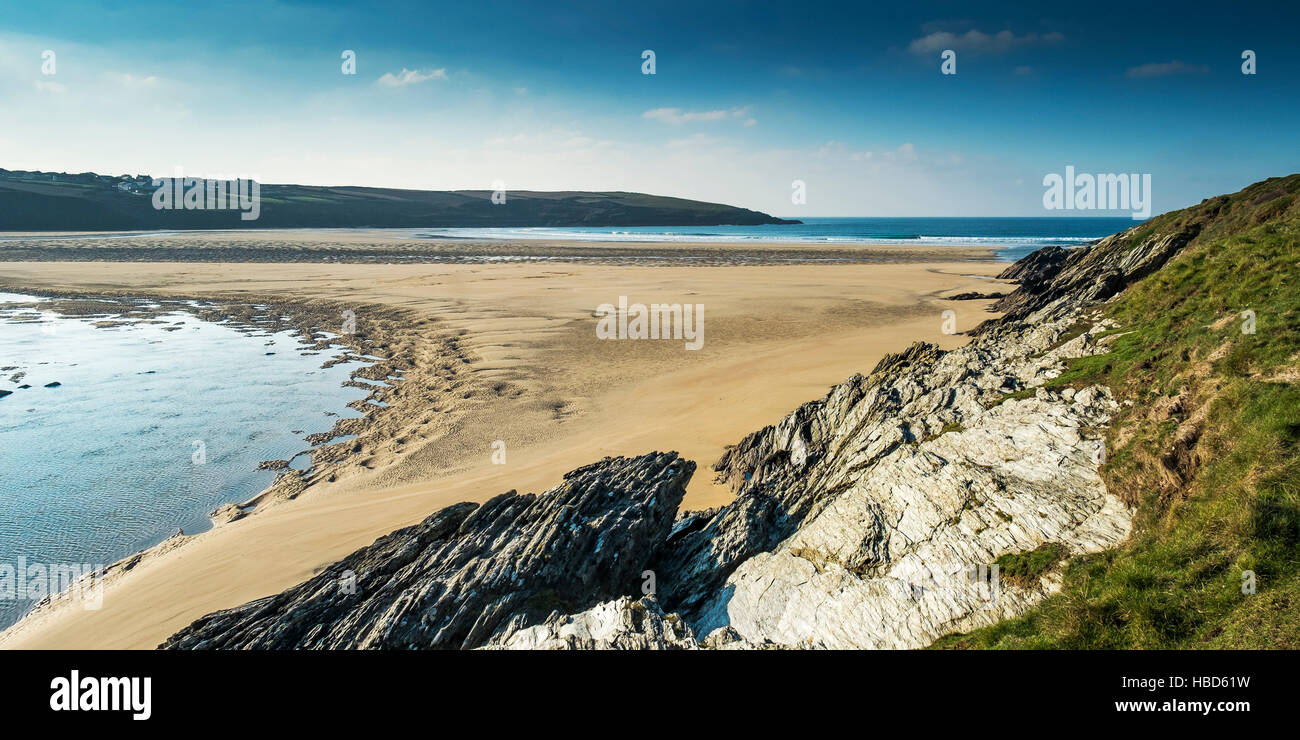 A panoramic view of the award winning Crantock Beach at the mouth of the River Gannell estuary;  Newquay, Cornwall. - Stock Image