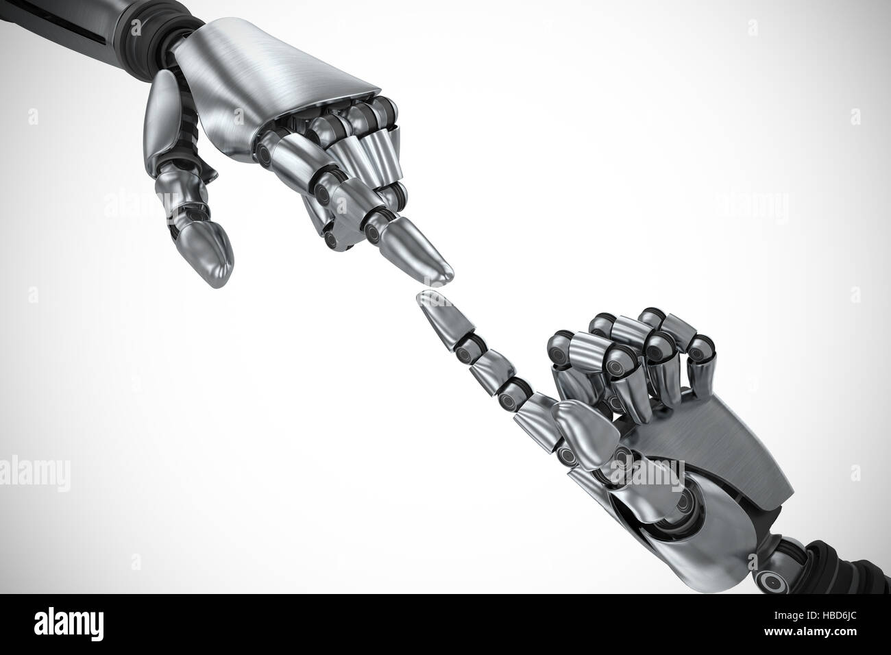 Composite image of silver robot arm pointing at something - Stock Image