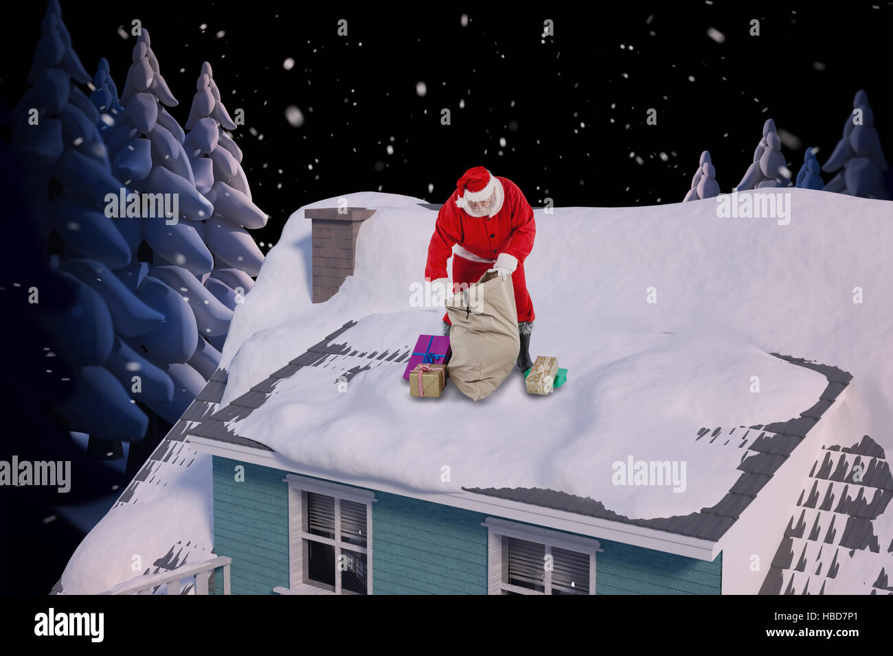 Composite image of santa claus filling gift boxes in sack - Stock Image