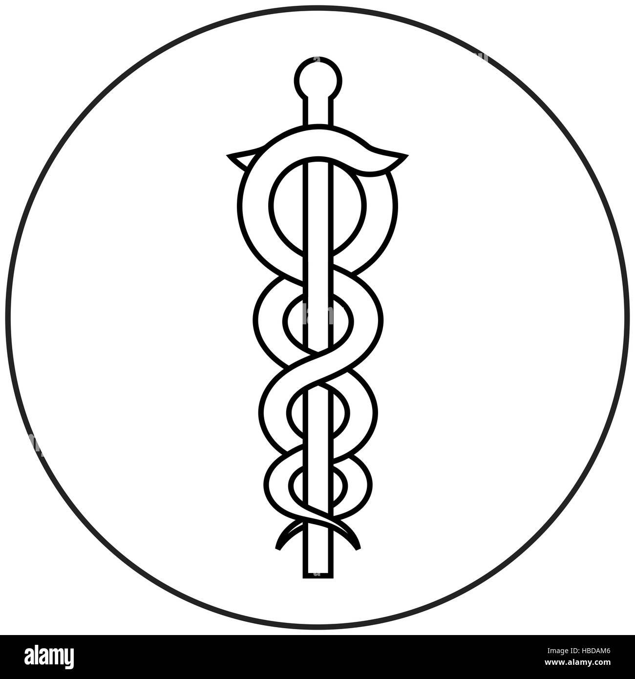 caduceus medical symbol - Stock Image