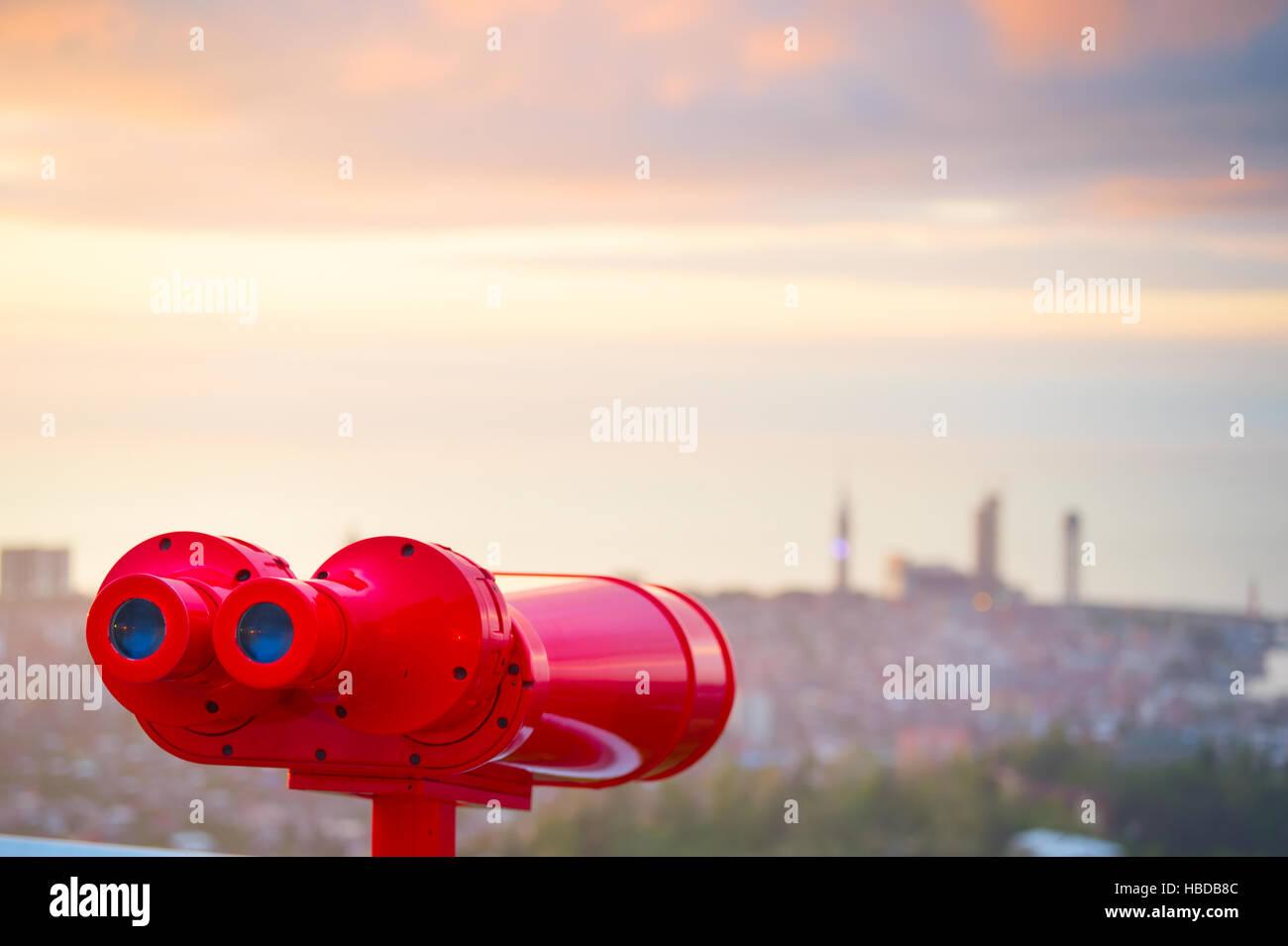 Red binocular - Stock Image