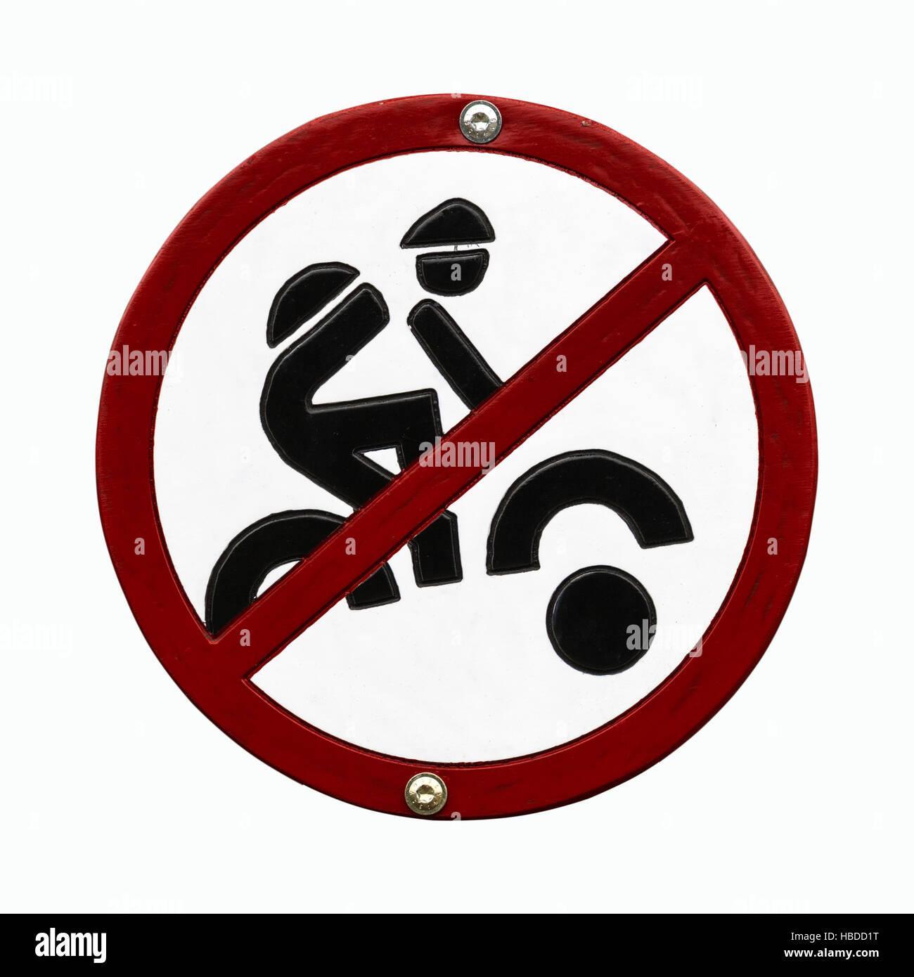 Mountainbiking prohibidden sign Stock Photo
