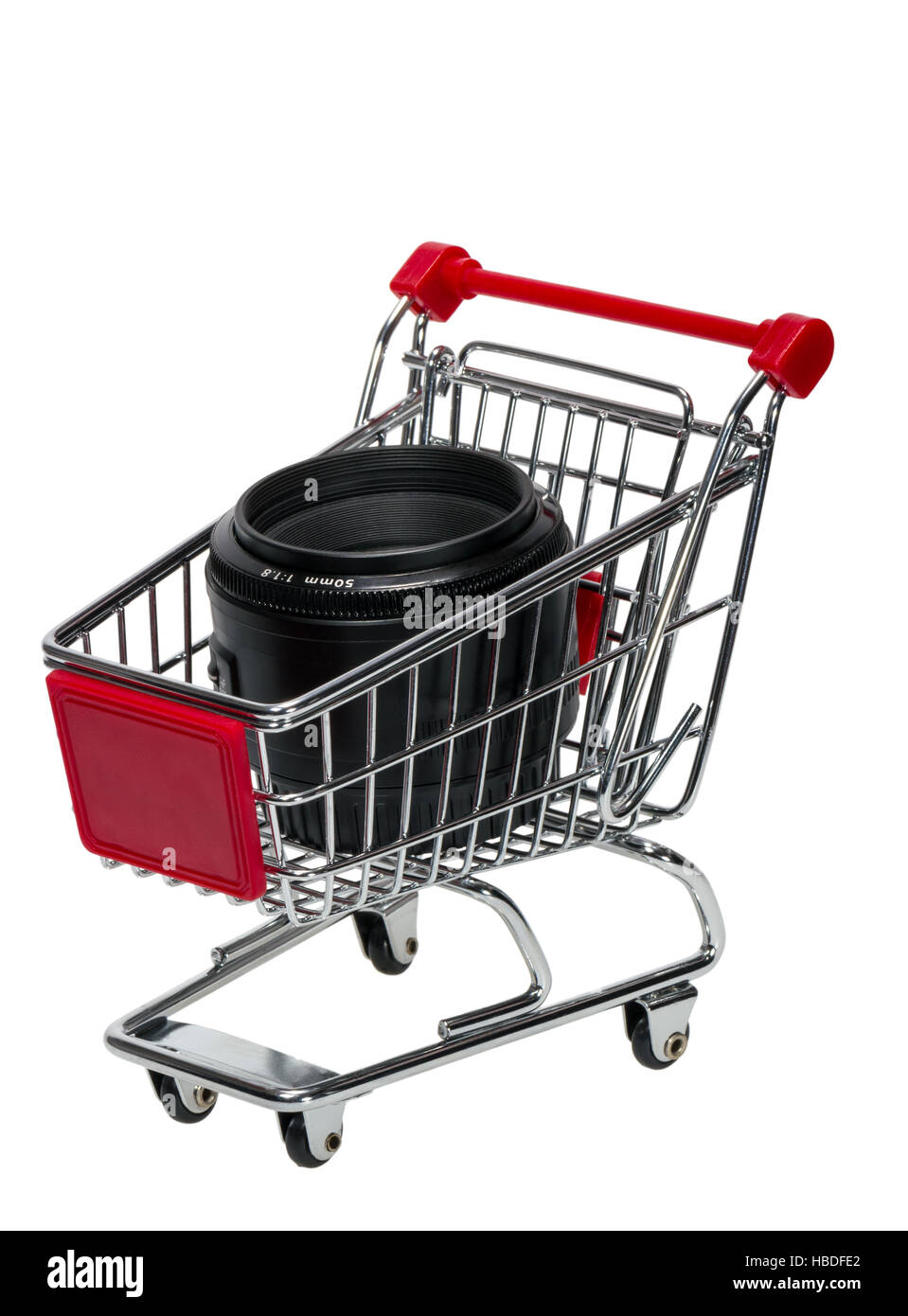 Shopping Cart with a camera lens isolated on white background Stock Photo