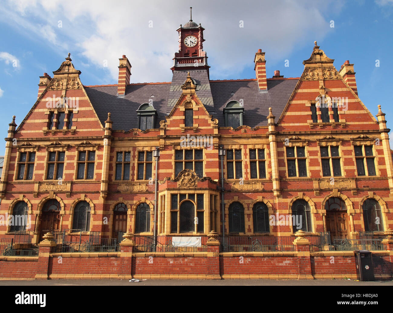 Victoria Baths, Manchester. Victorian baths currently being restored, with separate entrances for males and females. - Stock Image