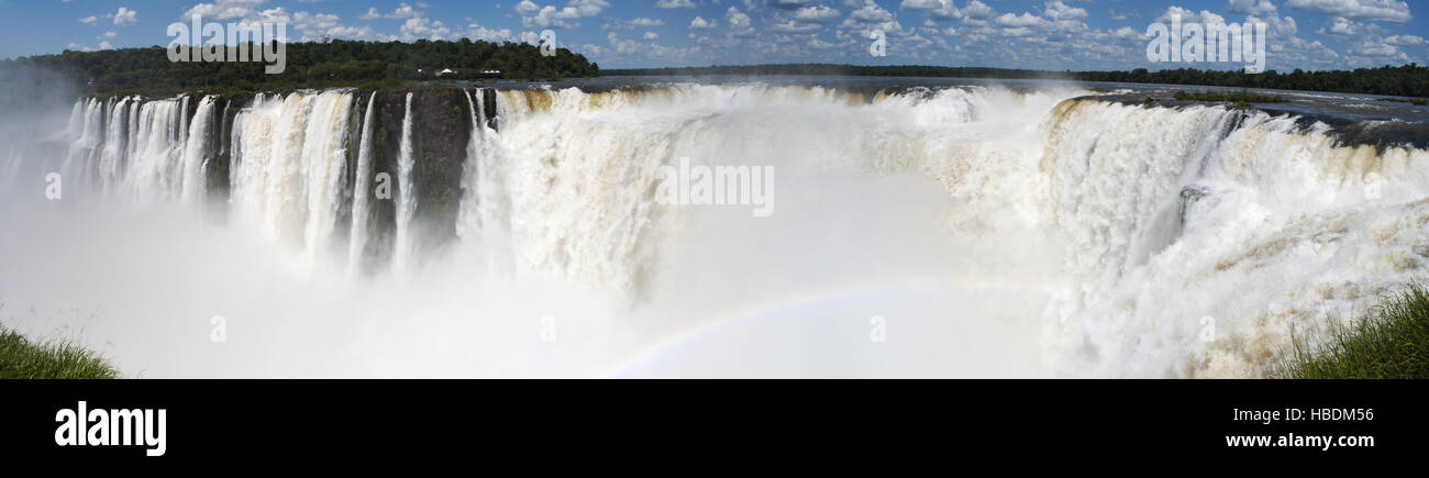 Iguazu: panoramic view of the spectacular Garganta del Diablo, the Devil's throat, the most impressive gorge - Stock Image