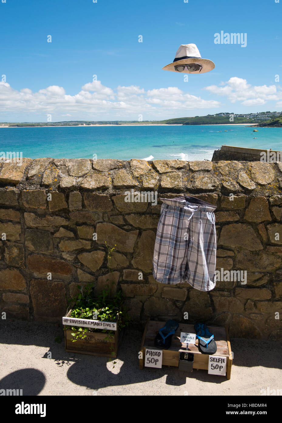 The invisible man St. Ives. Humourous set up for people to take selfies.  Cornwall England UK - Stock Image