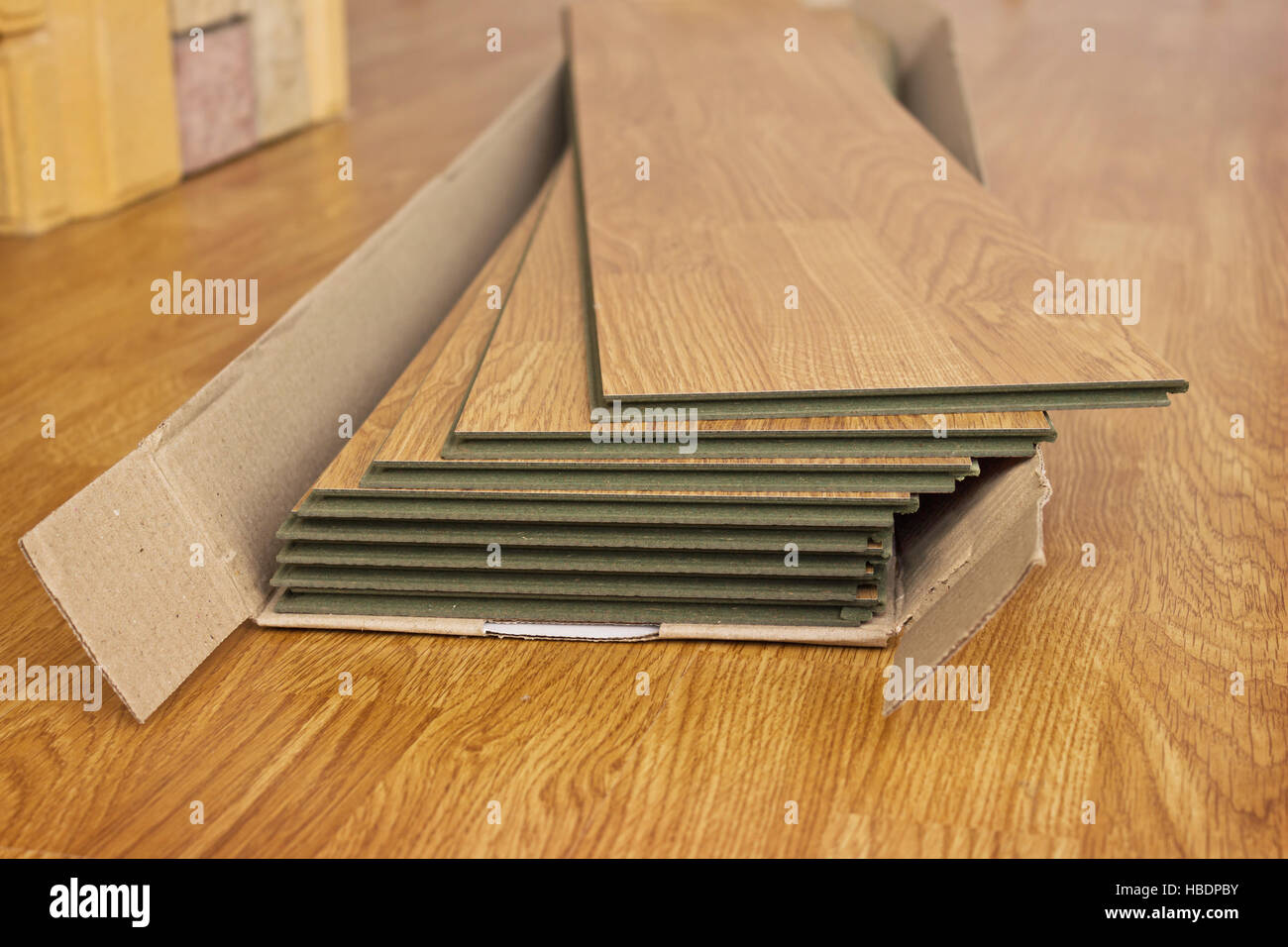 Laminated panels the color of the wood - Stock Image