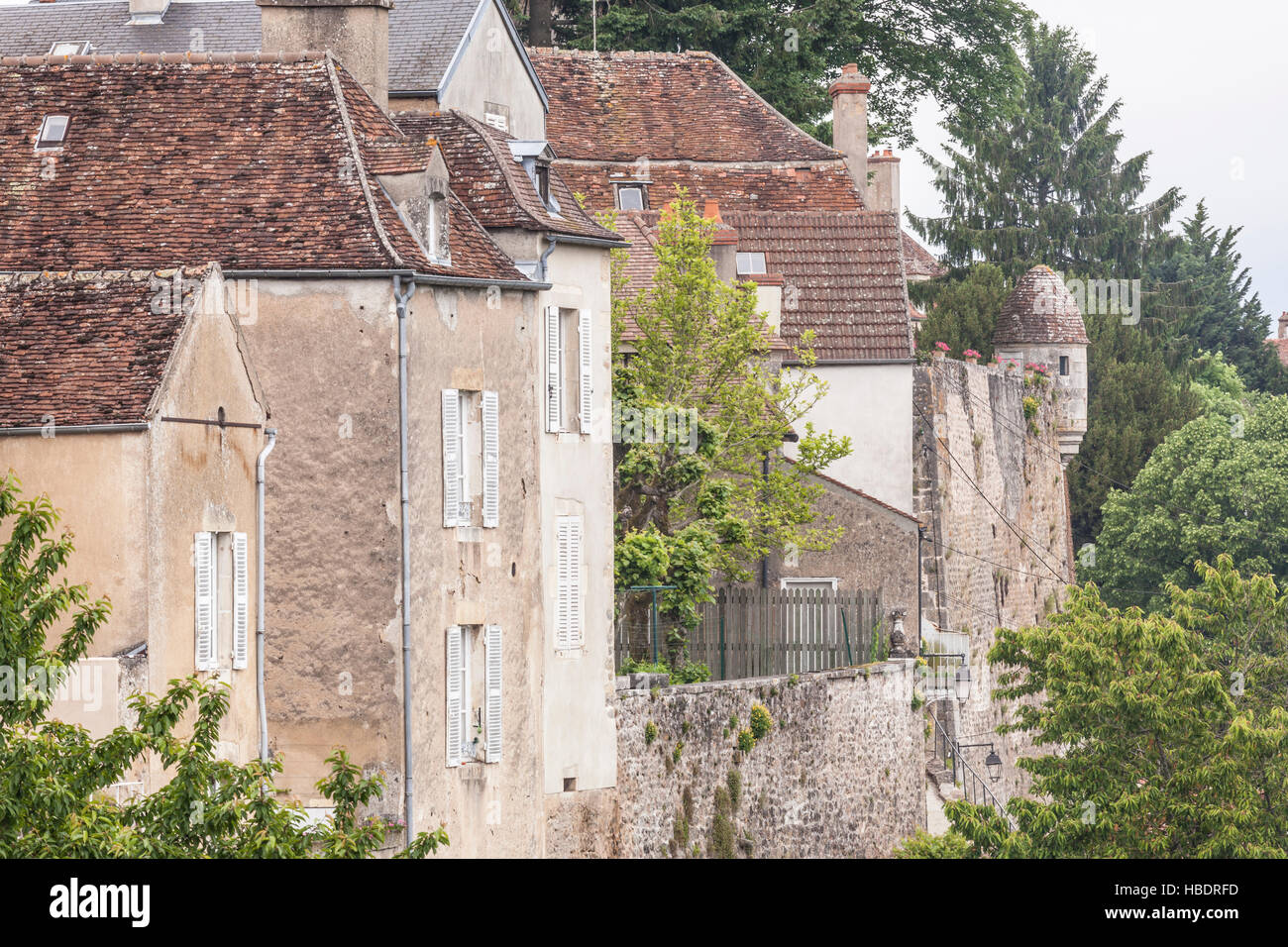 The old ramparts in Avallon, Burgundy. - Stock Image