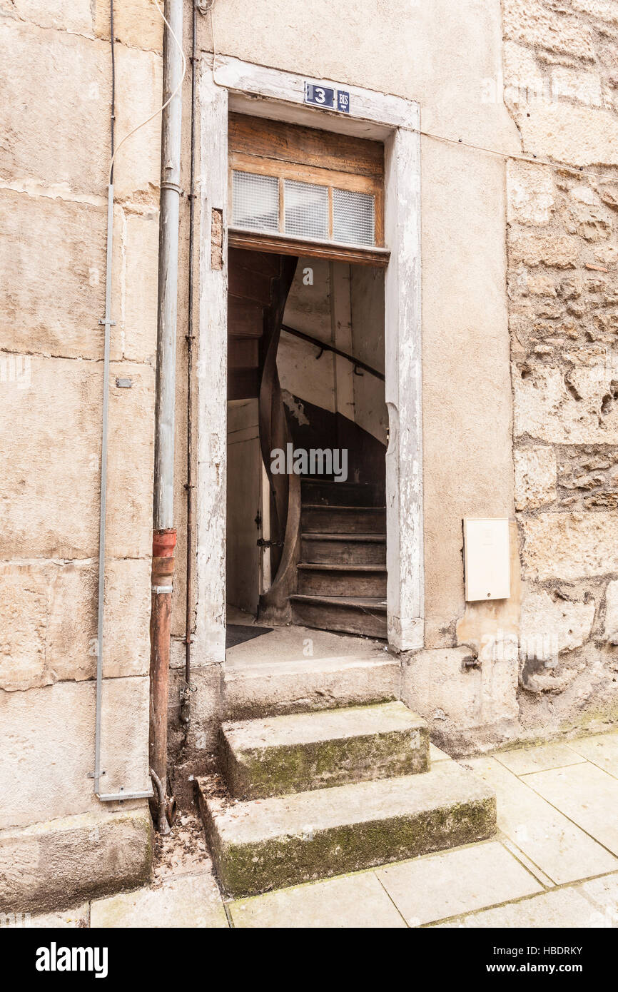 An old doorway in the town of Avallon, Burgundy. - Stock Image