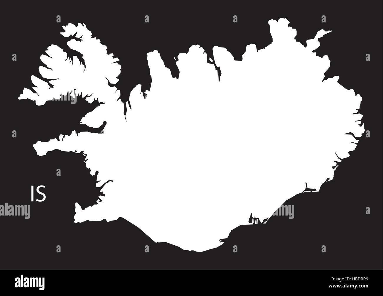 Iceland Map black white Stock Vector Art & Illustration, Vector ...