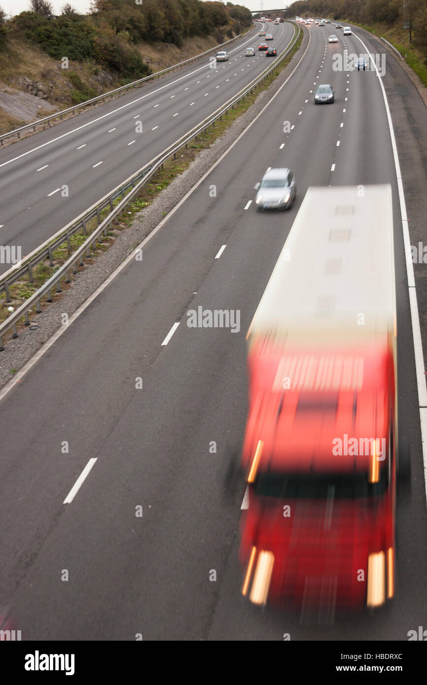 motion blur of truck on motorway high viewpoint - Stock Image