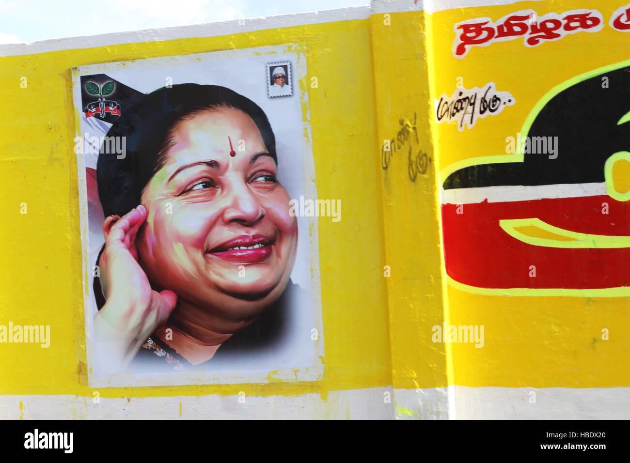 Poster of Jayalalitha Jayaraman, former actress, state minister of Tamil Nadu. - Stock Image
