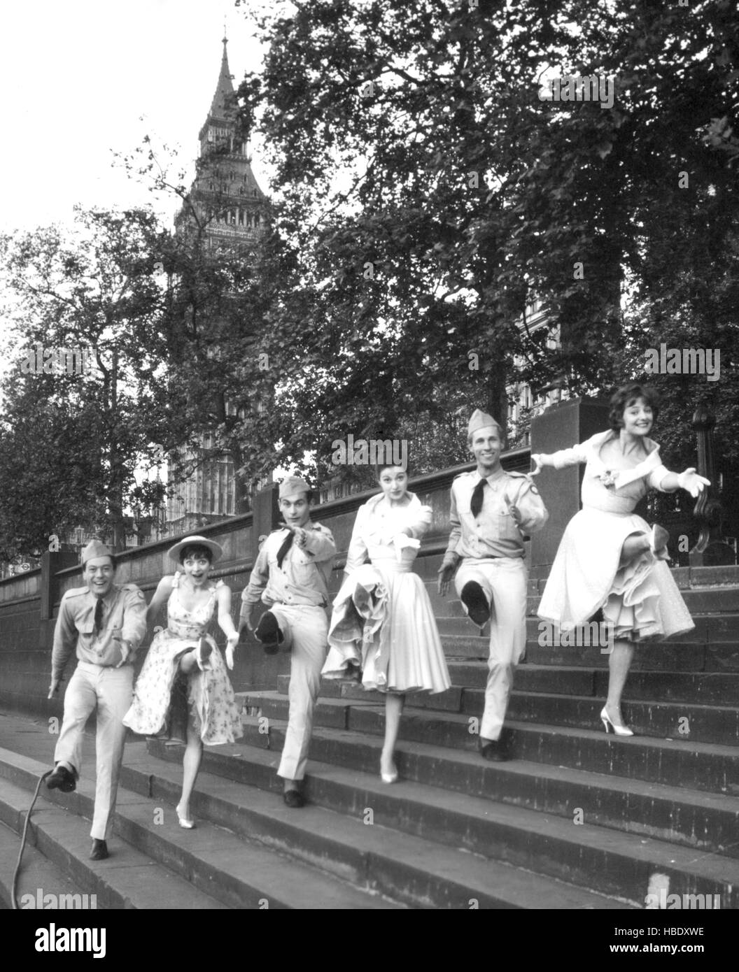 Energetic high-kickers on the Victorian Embankment steps in London were going through their paces at 5am today. - Stock Image