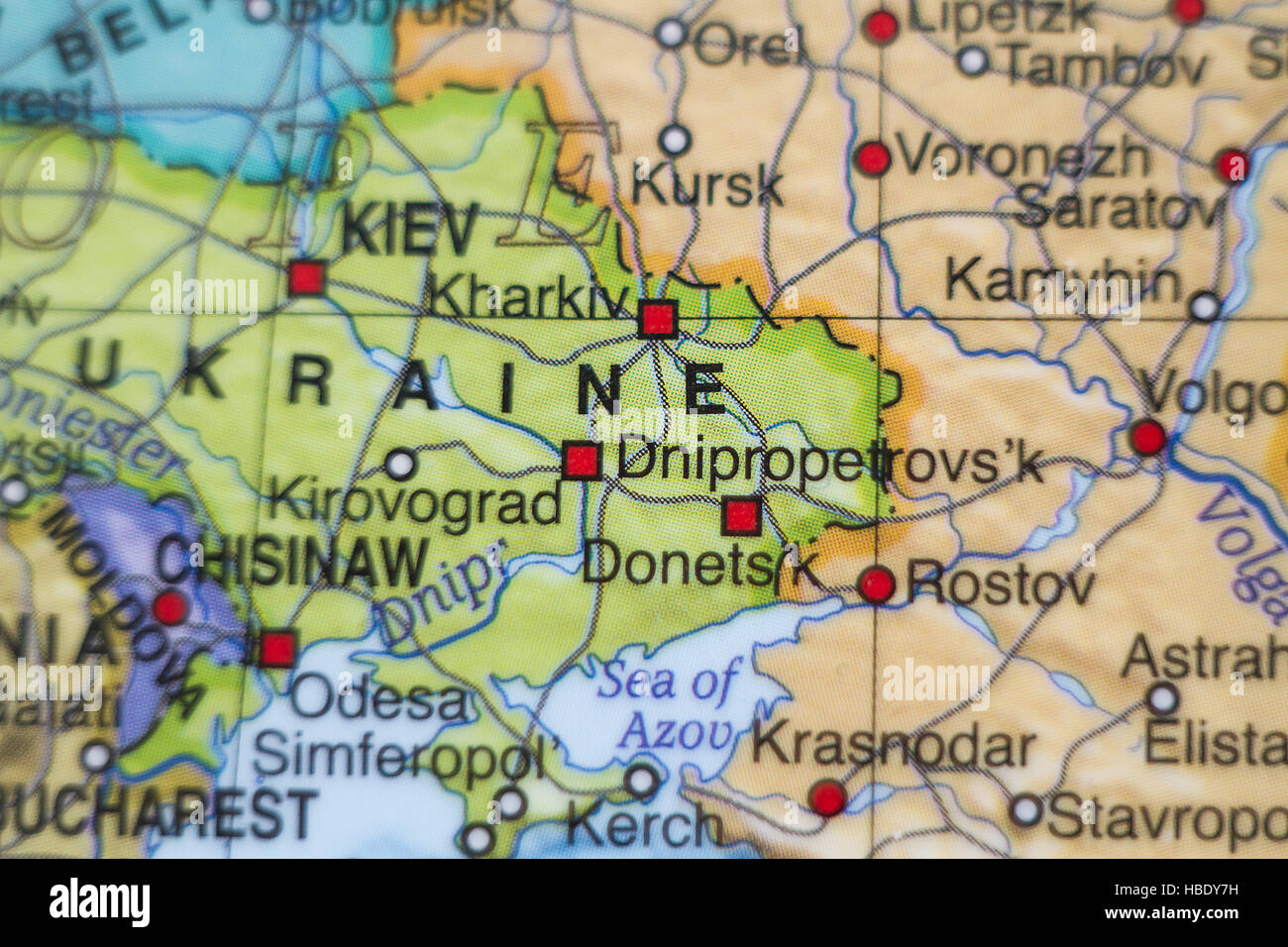 Photo of a map of Ukraine and the capital Kiev . - Stock Image
