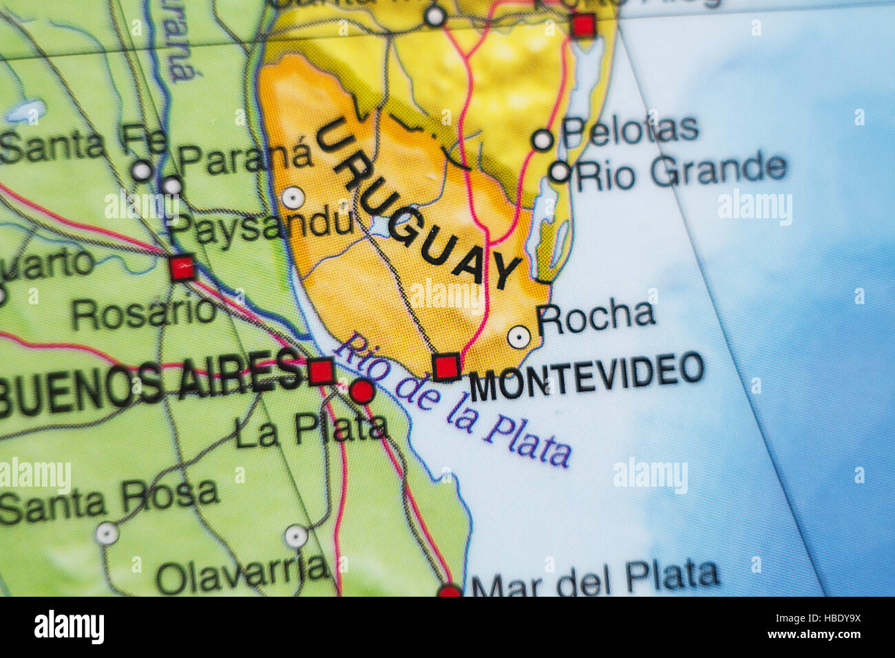 Photo of a map of Uruguay and the capital Montevideo Stock Photo ...