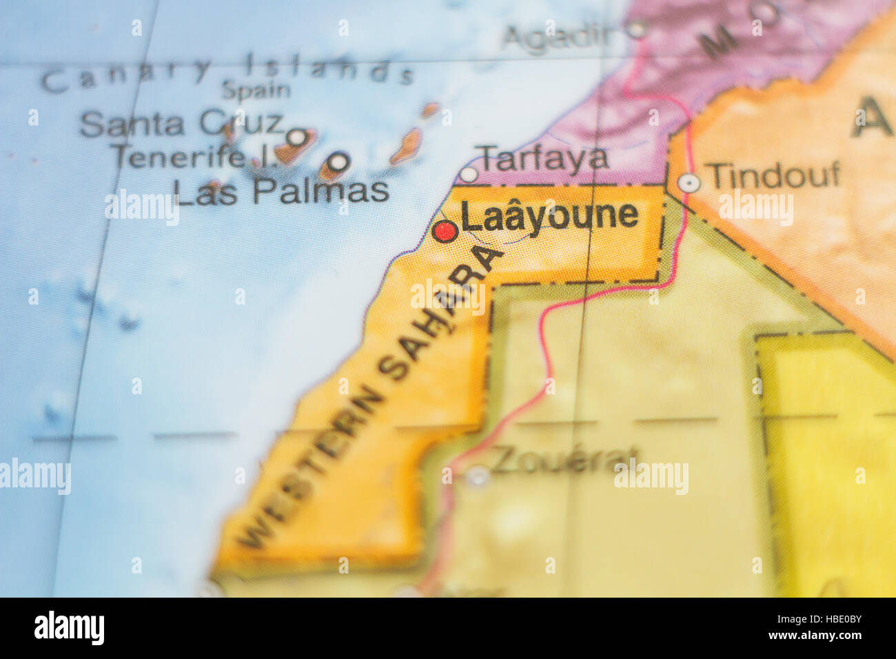 Beautiful photo of a map of Western Sahara and the capital Laayoune . Stock Photo