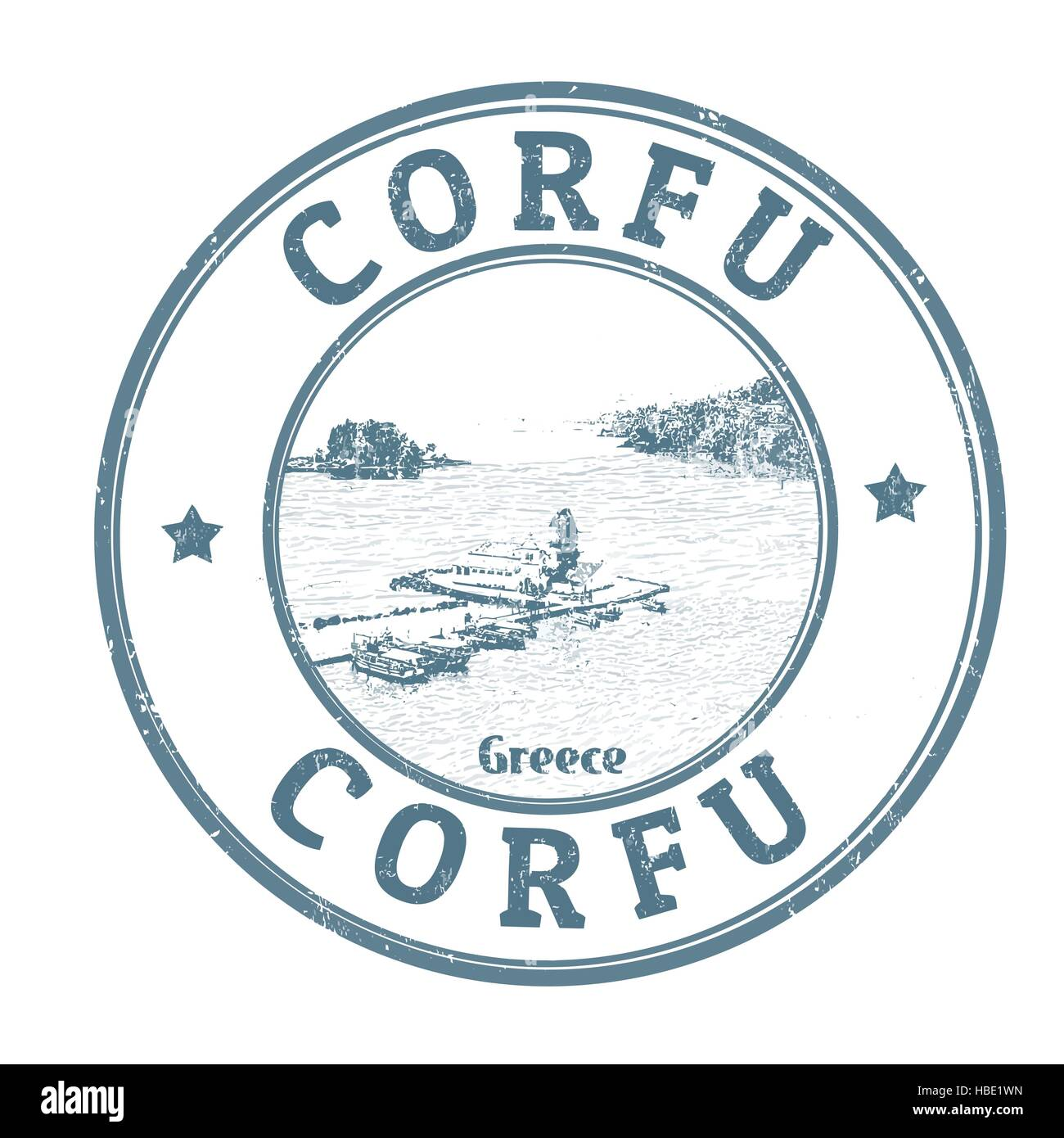 Corfu grunge rubber stamp on white background, vector illustration Stock Vector