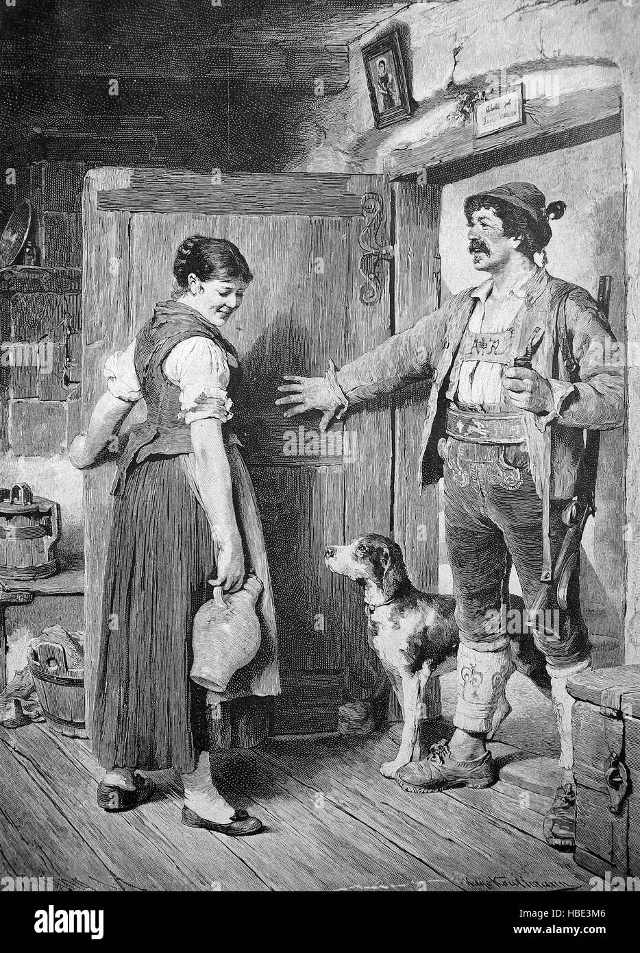 The huntsman comes home with a dog and a rifle, and meets the maid with a wine jar, illustration, woodcut from 1880 - Stock Image
