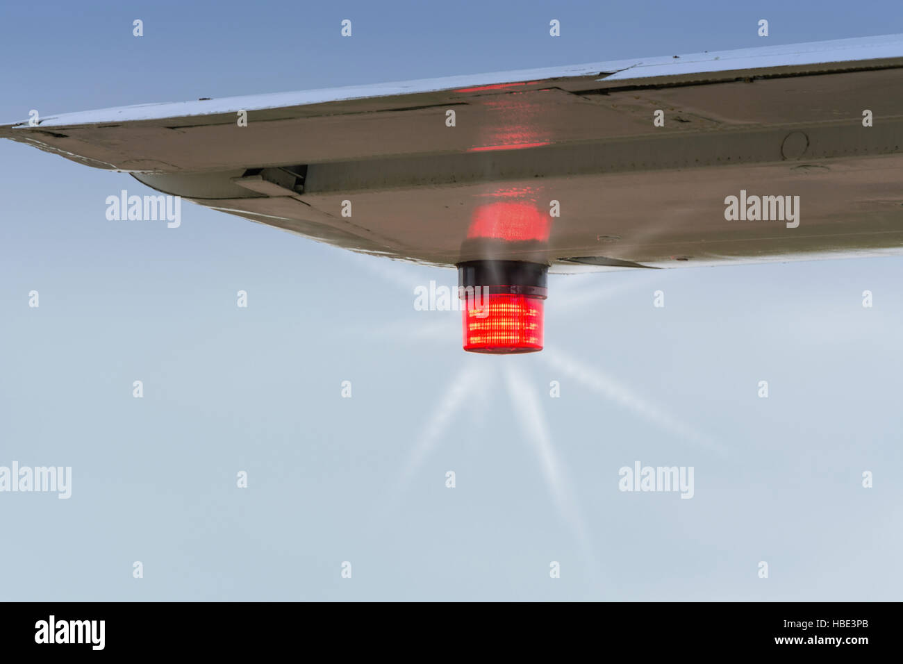 Position lights of an airplane. Stock Photo