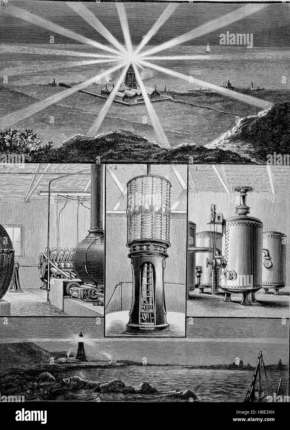 The new electric lighthouse on the island of Wight, England, illustration, woodcut from 1880 - Stock Image