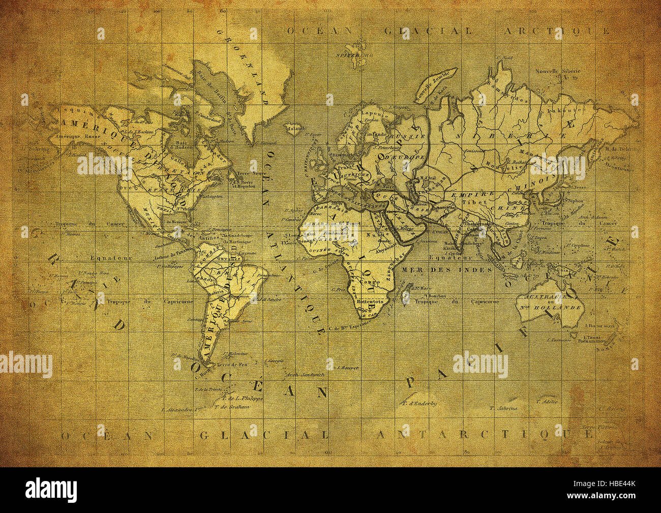 vintage map of the world published in 1847 - Stock Image