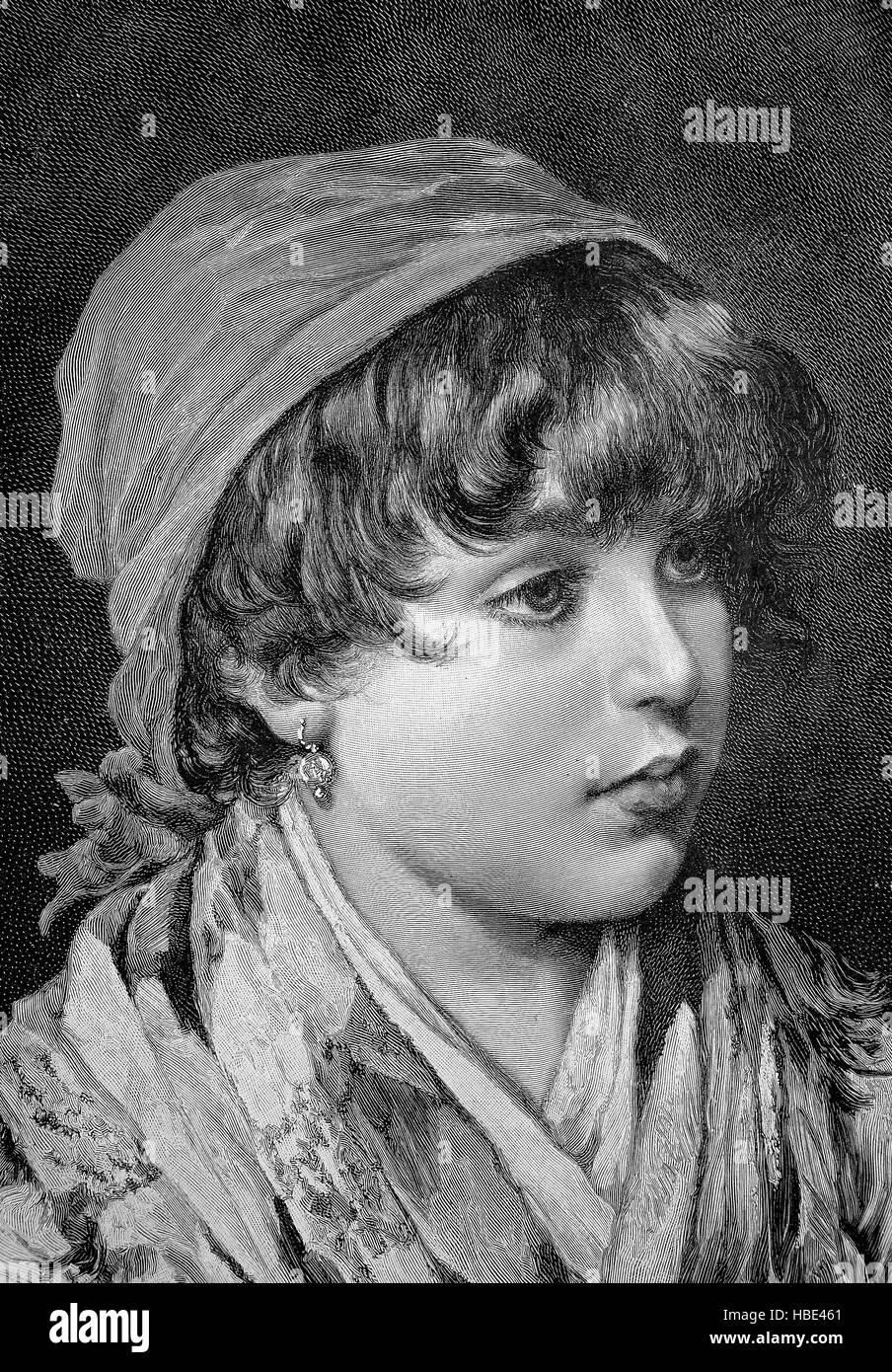 Portrait of a Venetian fisherman girl, Venezia, Italy, illustration, woodcut from 1880 - Stock Image