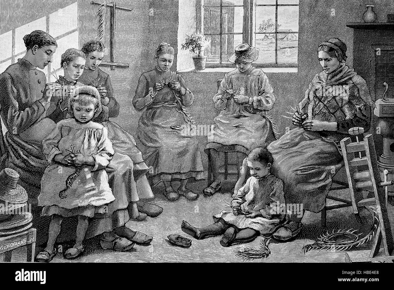 straw weaving, Braiding with straw, Belgium, illustration, woodcut from 1880 - Stock Image