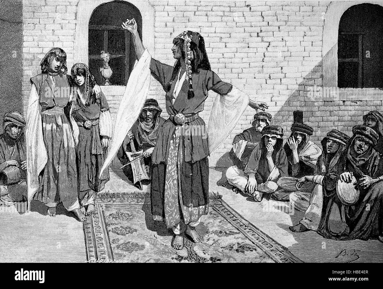 arabian dancer, Arabia, illustration, woodcut from 1880 - Stock Image