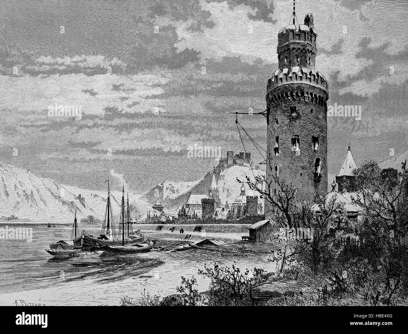 view of Oberwesel on the Middle Rhine in the Rhein-Hunsrueck-district in Rhineland-Palatinate, Germany, illustration, - Stock Image