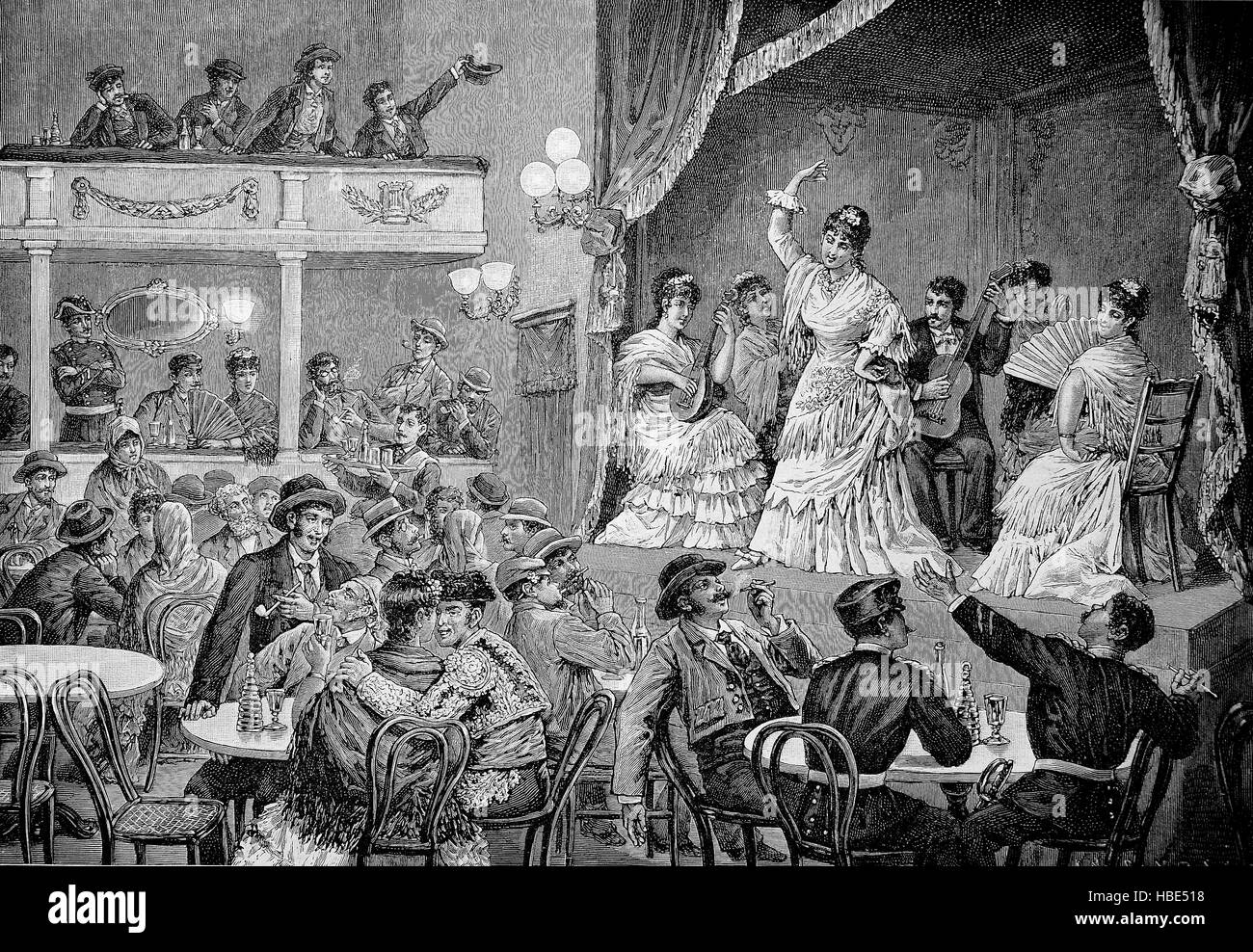 People's theater in Spain in the 19. century, illustration, woodcut from 1880 - Stock Image