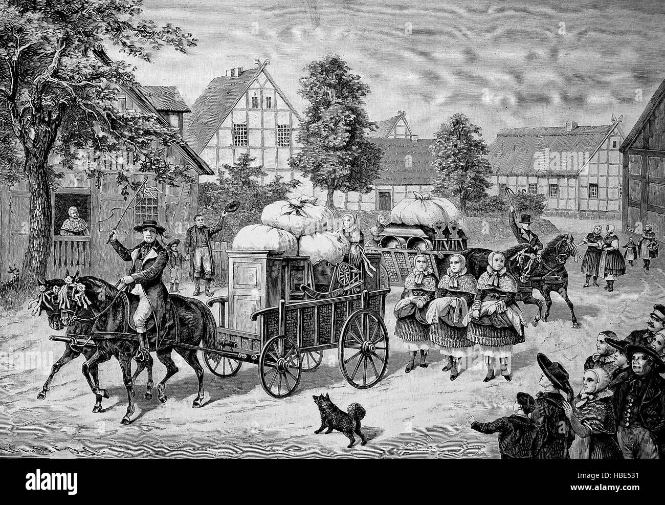 The bride's beds are driven through the village by a carriage. Customs in Pomerania, 19th century, illustration, - Stock Image