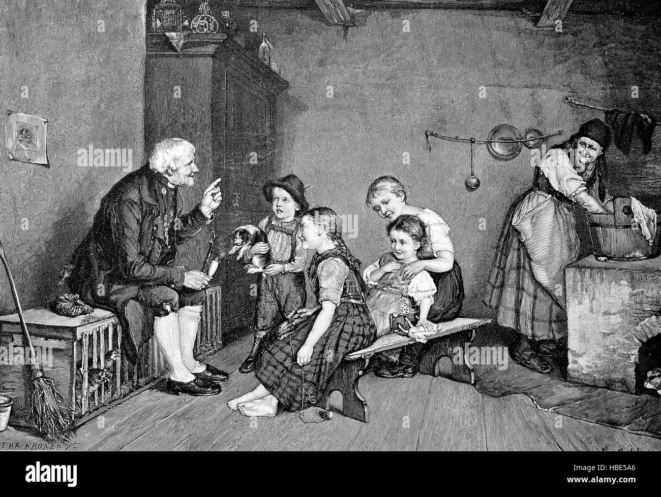 Grandfather tells the grandchildren an exciting story, illustration, woodcut from 1880 - Stock Image