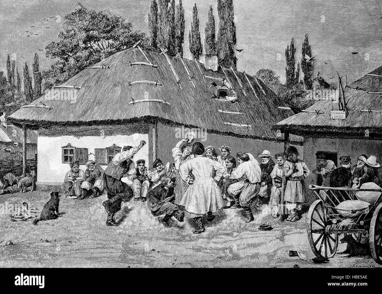 Hopak, also Gopak or Cossack dance, is a Ukrainian dance, Ukraine, Russia, illustration, woodcut from 1880 - Stock Image
