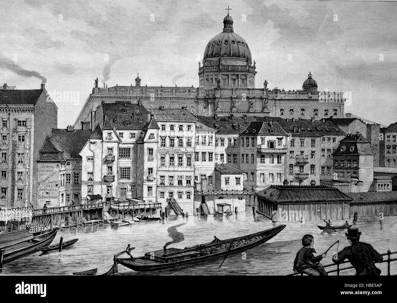 The Schlossfreiheit of Berlin, Germany, Schlossfreiheit is the old name of the square between the Berlin Stadtschloss - Stock Image