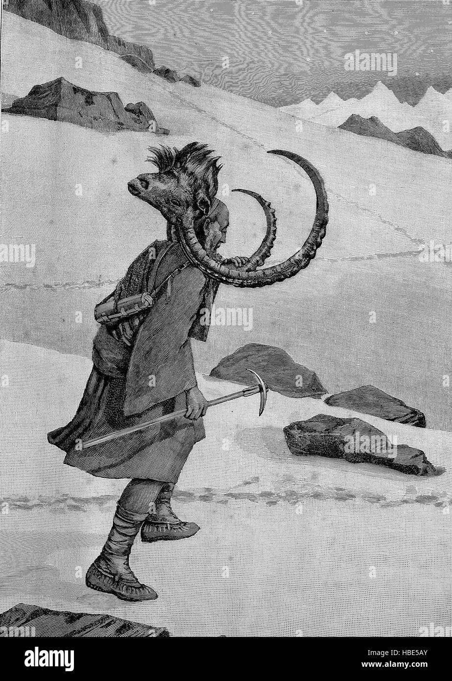 India, Capricorn hunting, homecoming with the cut off head of a Capricorn, illustration, woodcut from 1880 - Stock Image