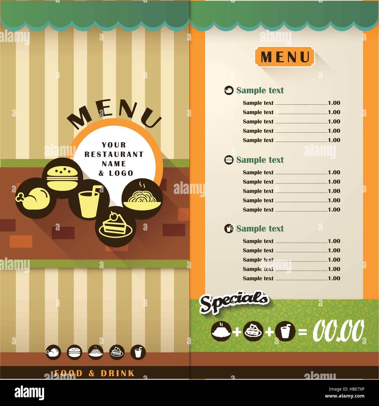 Vector Restaurant Menu Brochure And Cover Design Template Stock Vector Image Art Alamy