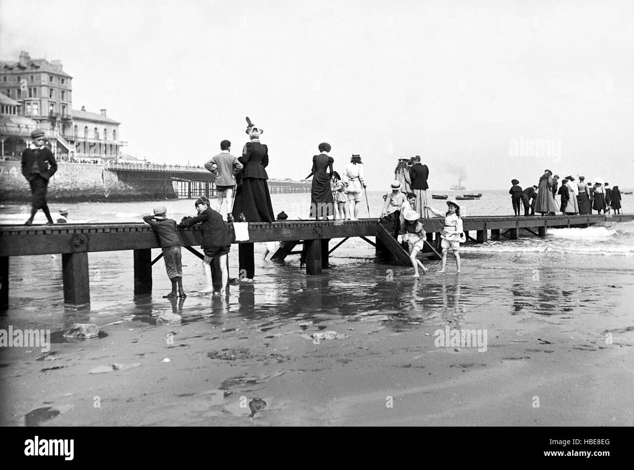 Llandudno beach and pier 1895 - Stock Image