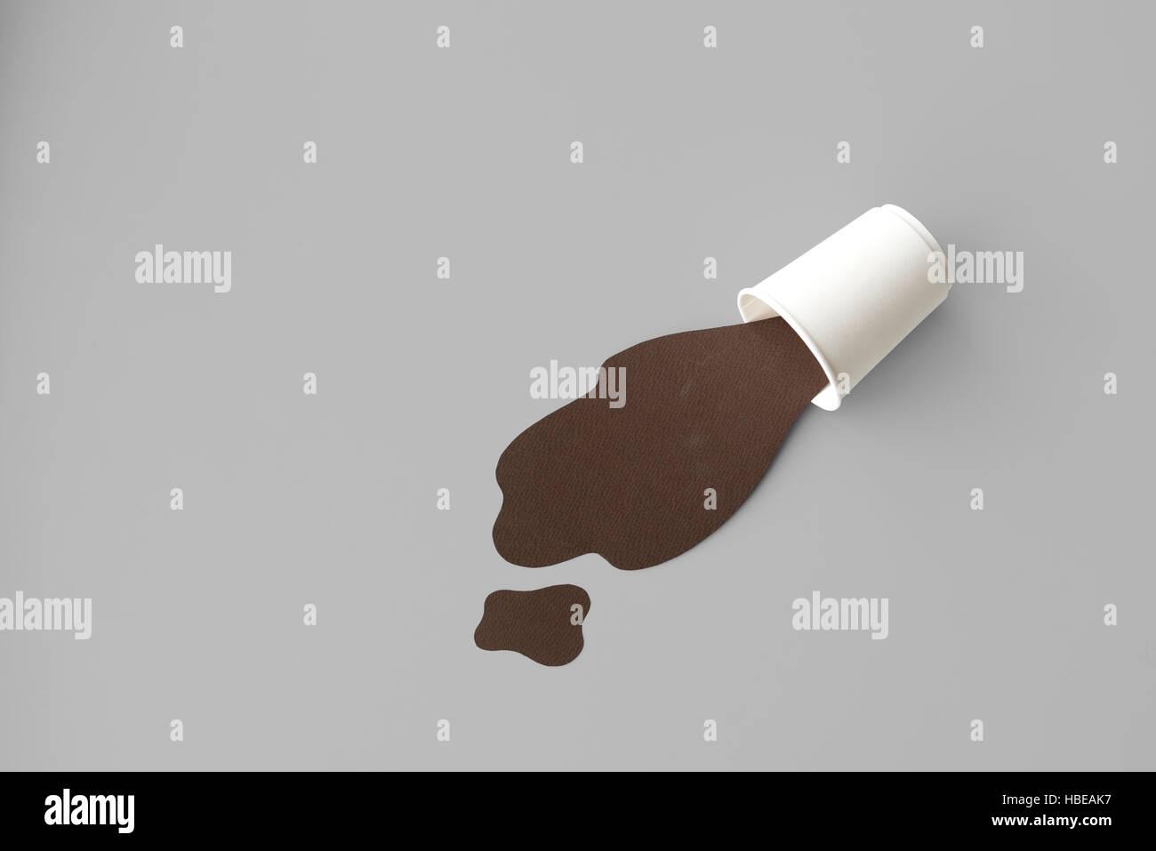 Spilled Splash Smudge Sloppy Stain Wet Beverage Concept - Stock Image