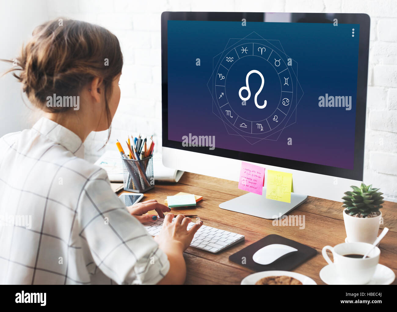 Leo Horoscope Zodiac Fortune Graphic Concept - Stock Image