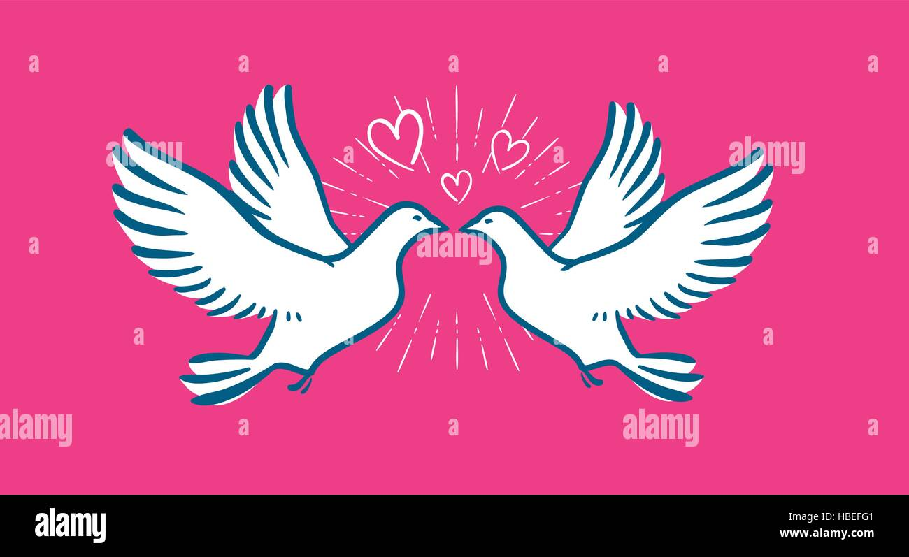 White Dove Flying Wedding Love Symbol Valentines Day Banner Stock