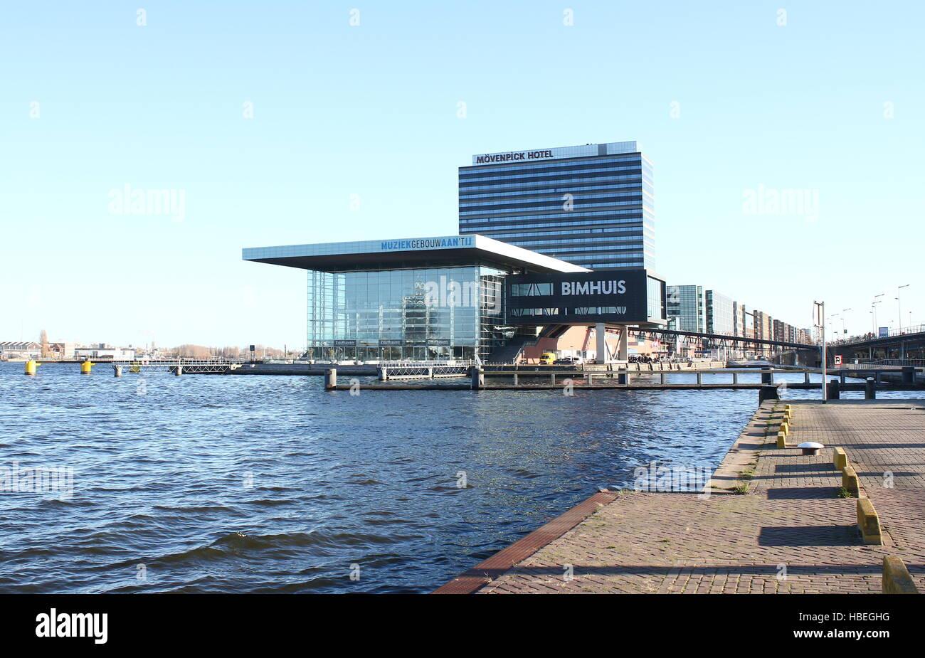 Concert Hall Muziekgebouw aan 't IJ (Classical Music) & Bimhuis (Jazz) at  IJ river, Amsterdam, Netherlands - Stock Image