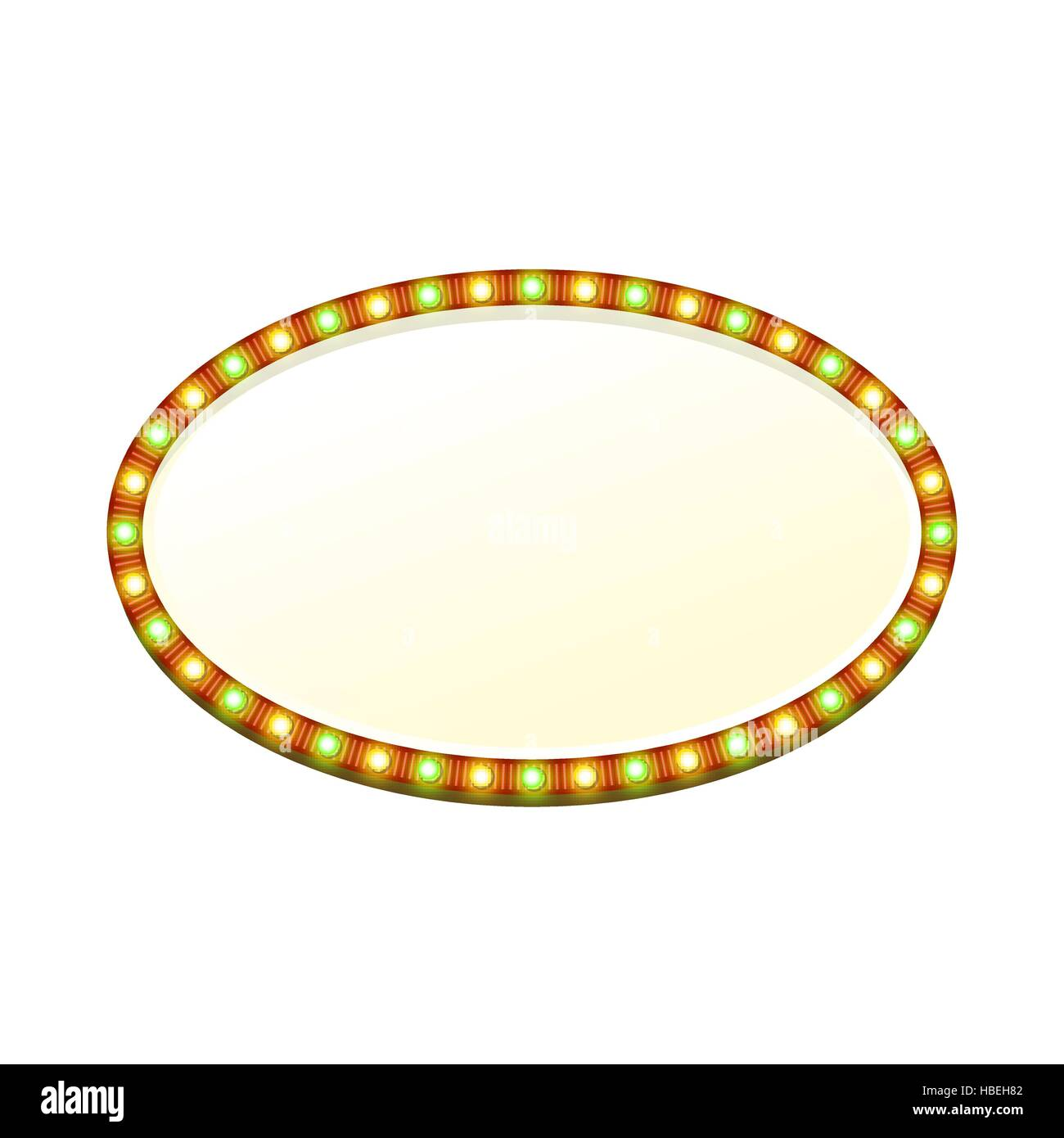 Blank 3d oval retro light banner with shining lights. Red sign with green and yellow bulbs and bright blank space - Stock Image