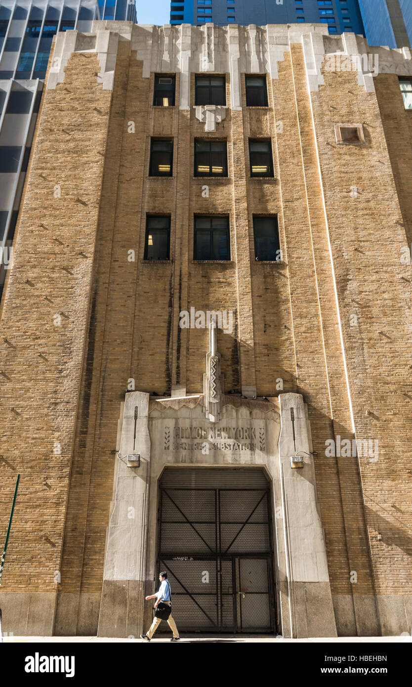 Exterior facade of the art deco City of New York Central Substation building (IND central subway) - Stock Image