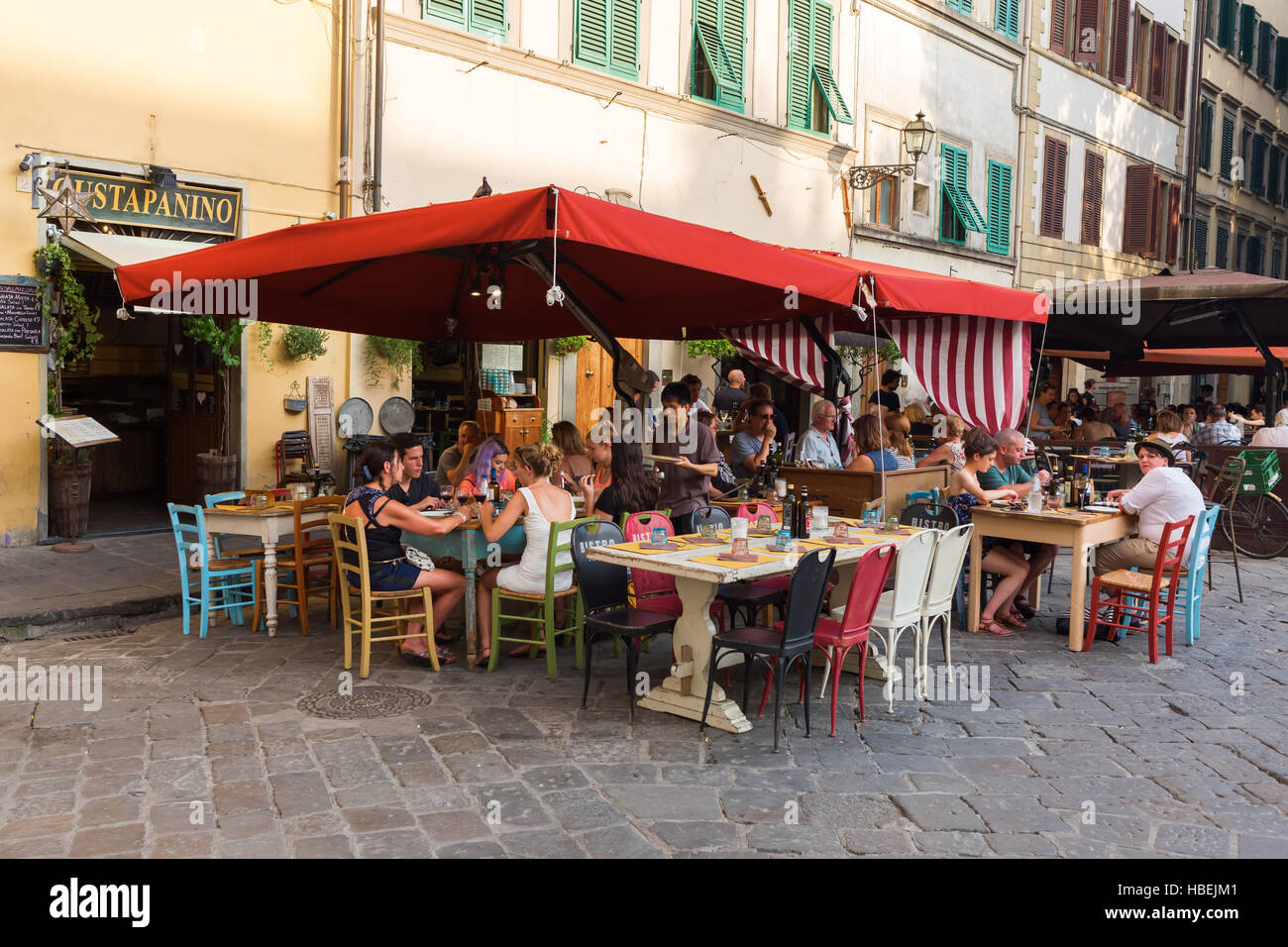 bar on The Piazza Santo Spirito in Florence - Stock Image