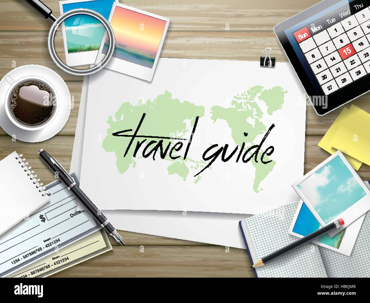 top view of travel items on wooden table with travel guide written on paper - Stock Vector
