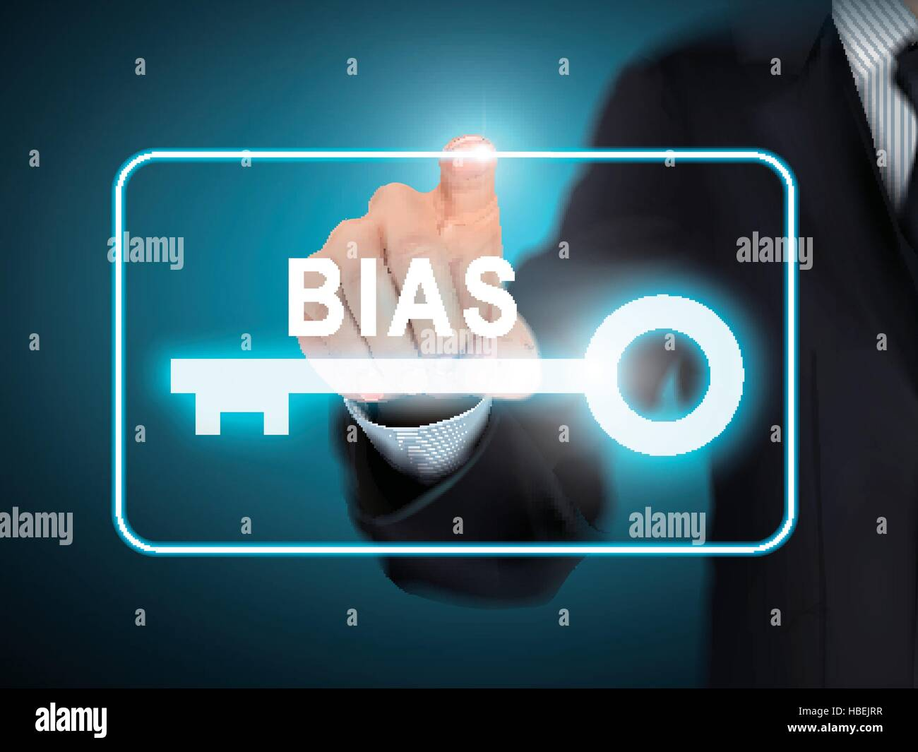 male hand pressing BIAS key button over blue abstract background - Stock Vector