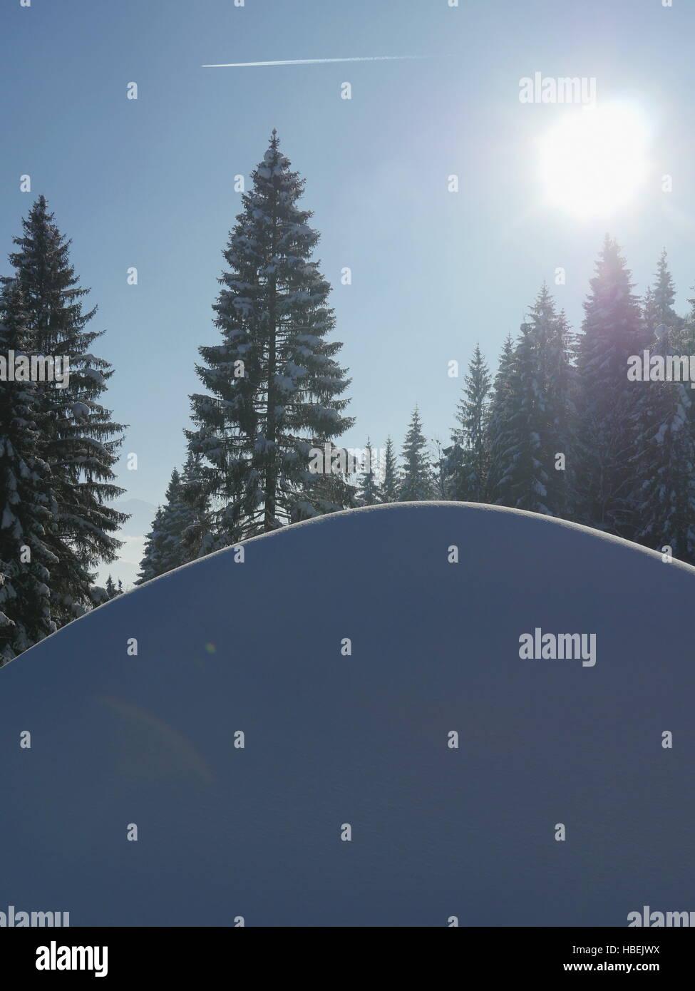 Close-up of snowdrift in sunshine - Stock Image