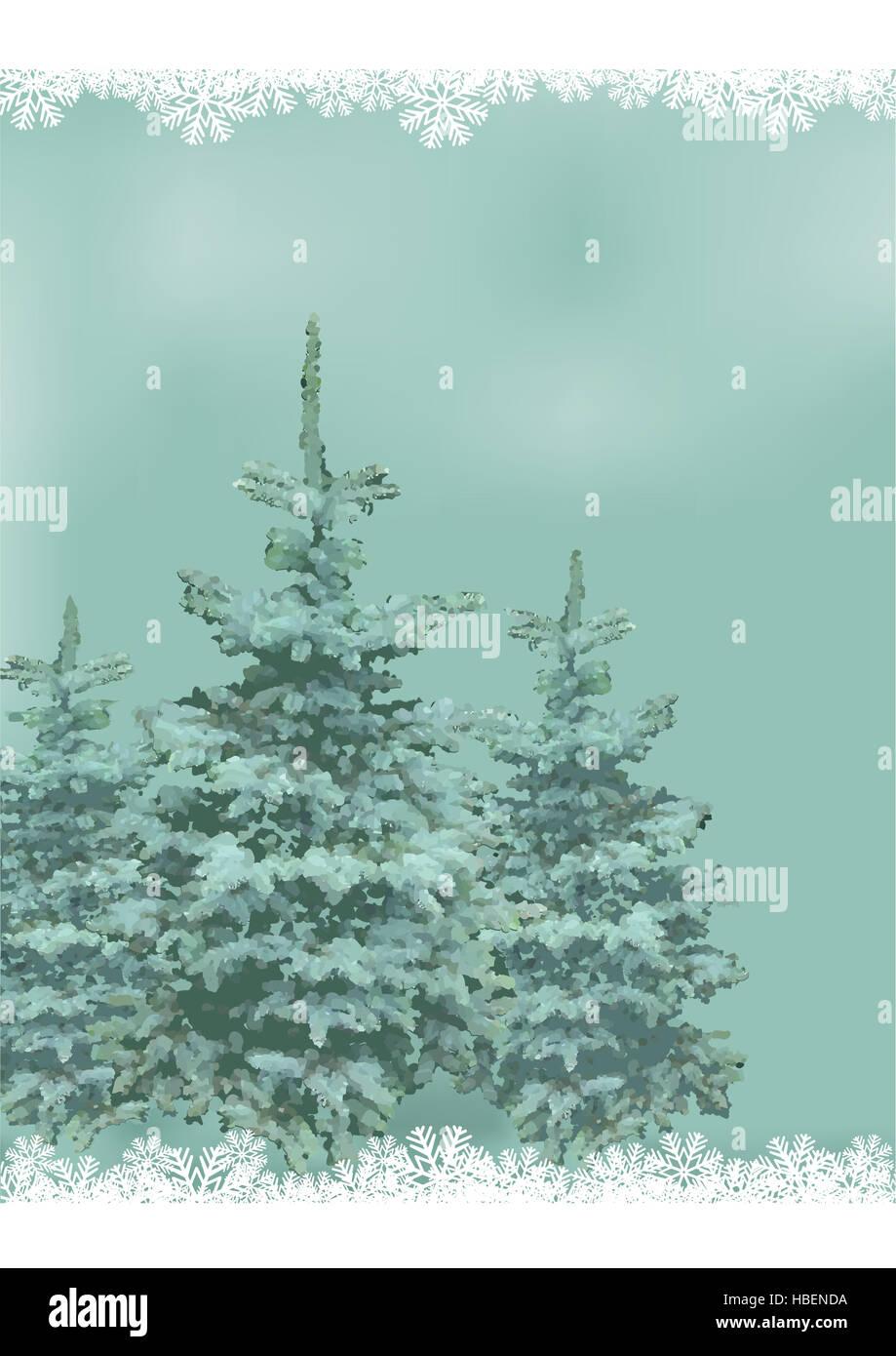 Illustration Christmas landscape. - Stock Image